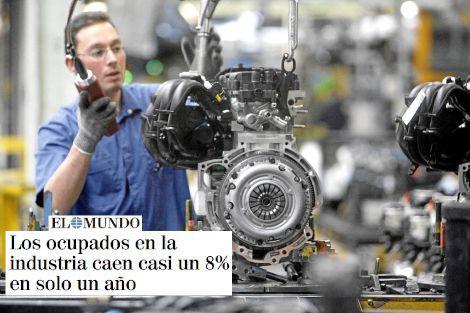 Los ocupados en la industria caen casi un 8% en solo un año